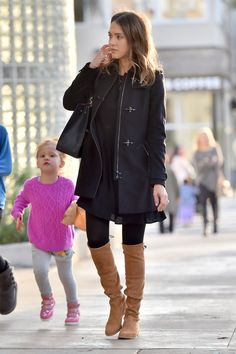 Jessica Alba wearing  Fay Montgomery a Line Trench Coat in Black, Stuart Weitzman Lowland stretch-suede over-the-knee boots, Maiyet Sia East/West Shopper