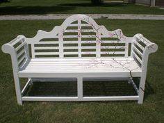 Handpainted cherry blossoms wooden bench