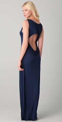 Simple tank maxi dress with a draped cut-out back.  Enza Costa scoop-neck jersey maxi dress in marine blue, $150