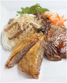 Com Tam Tau Hu Ky Suon Bi (Vietnamese Broken Rice with Bean Curd Wrapped Shrimp, Pork Chop, and Pork Skin)