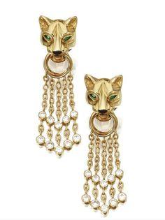 Pair of 18 Karat Gold, Diamond and Emerald 'Panthère' Pendant-Earclips, Cartier