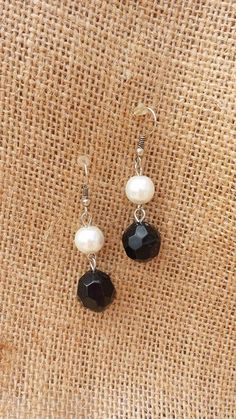 Michi's Boutique - $12.00   Pearl and Black Bead Earrings