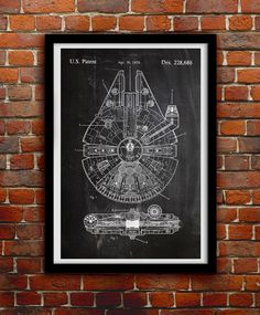 Star Wars Millenium Falcon - Geek Decor - Patent Print Poster Wall Decor - 0068 (8.00 USD) by thepatentoffice