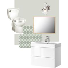 My Bathroom renovation.  Modern and updated.  Ikea godmorgon cabinet, ikea molger mirror (darker than it appears here), outdoor wall light from Home Depot, moss penny tile from the tile shop, moonshine paint by benjamin moore.