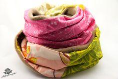 Schlauchschal von Lieblingsmanufaktur: harmonische Farben - rosa, grün, beige