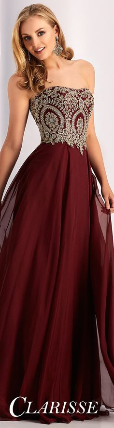Best Selling Clarisse Prom Dress 3000. DESCRIPTION: Strapless a-line dress with gold lace appliqué and lace up back. COLOR: Flamingo, Mint, Navy, Marsala SIZE: 00-24