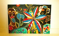 Your place to buy and sell all things handmade Outsider Art, Painted Plates, Hand Painted, Primitive, Picasso Style, Art Tribal, Art Brut, Modern Art Paintings, Wild Orchid