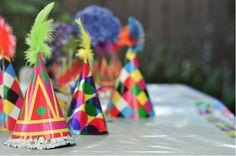 happy rainbow party hats w/ feathers