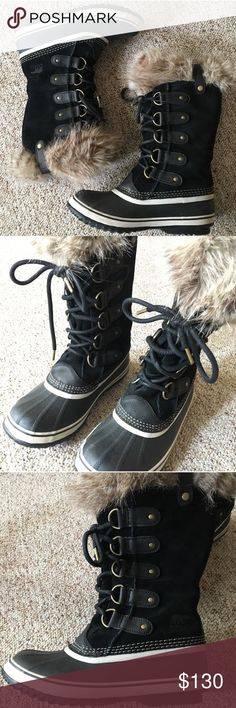 Sorry Joan of Arch Black and Gray books size 7.5 Super super cute! Worn out to my car once and that was it. Need money for my dogs surgery so I'm selling them. Sorel Shoes Winter & Rain Boots