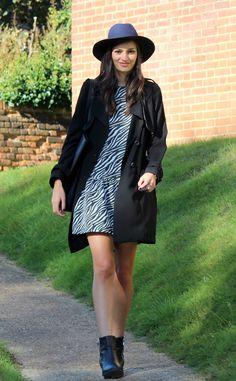 1. zebra print dress with cardigan