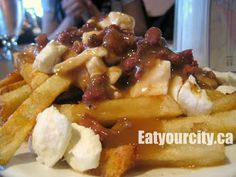 The Cheese Factory Edmonton, AB - home to the best poutine with squeaky curds, fried cheese and cevapi! Food Pics, Food Pictures, Cheese Factory, Cheese Fries, Poutine, Food Items, Ground Beef, Waffles, Restaurants