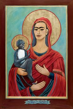 Frida as the virgin with three hands in this ex-voto. The monkey is also sanctified; artist unknown.
