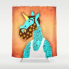 Flower Power Beard Unicorn Shower Curtain by That's So Unicorny - $68.00