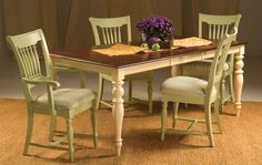 Berkshire by Saloom. Love the idea of adding upholstered chairs and bench. #countrydesign #dining #furniture