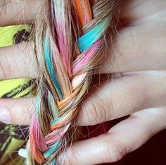 Multi-colored fishtail braid.