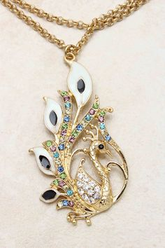 Golden Crystal Peacock Necklace