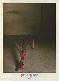 Yves Saint Laurent 1983 by David Bailey Vintage Ysl, Vintage Shoes, Vintage Fashion, Vintage Graphic, Shoes Editorial, Editorial Fashion, Editorial Photography, Fashion Photography, Ysl Saint Laurent