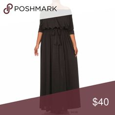 $65 Plus Size Black Off Shoulder Maxi Dress Plus Size Black Off Shoulder Maxi Dress  Made of stretch polyester, has a sateen look to the material. Dresses Maxi
