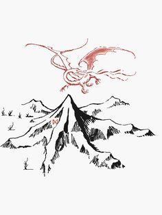The Hobbit tattoo idea. The Lonely Mountain and Smaug. Smaug Tattoo, Hobbit Tattoo, Tolkien Tattoo, Tatouage Tolkien, Jrr Tolkien, Ring Tattoos, New Tattoos, Cool Tattoos, Tatoos