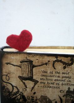 Needle felted heart bookmark