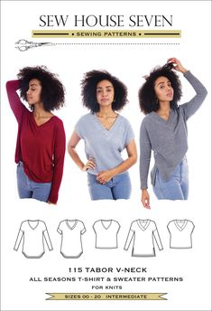 Meet my latest pattern - the versatile Tabor V-neck! Some of you may have already met and possibly ordered this pattern a bit too early as I absentmindedly made it go live a few weeks before it was due to debute (apoligies to those of you who made your purchases then). Both the pdf and paper patterns are now ava