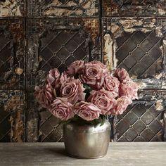 faux pink roses & vase for nightstand/desk decor