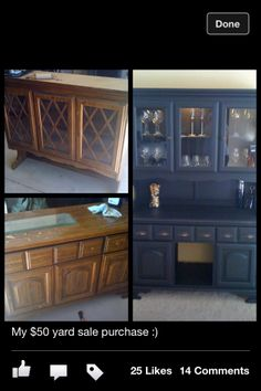 #Refinished furniture china cabinet turned wine bar