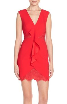 BCBGMAXAZRIA 'Koralyn' Lace Inset Crepe Sheath Dress available at #Nordstrom