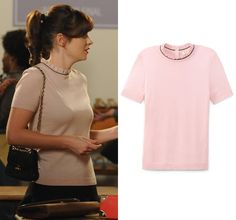 "Jess will wear this blush pink ruffled neckline sweater in New Girl episode ""Girl Fight"""