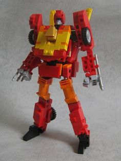 Transformer Rodimus Prime / Hot Rod (mini figure scale / transformable): A LEGO® creation by alex wong : MOCpages.com