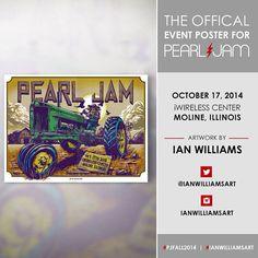 Pearl Jam Poster - 17/october/2014 - Moline - Illinois - PJFall2014