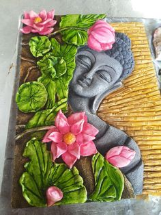 Fevicryl Fabric Painting Ideas by Steven Wright Sculpture Painting, Mural Painting, Fabric Painting, 3d Painting On Canvas, Paintings, Polymer Clay Painting, Polymer Clay Kunst, Buddha Kunst, Buddha Art