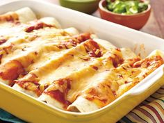 Spinach and Turkey Enchiladas - Note the ingredient list does not include the tortillas, try to use whole wheat ones to up the nutritional value.