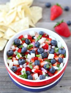 Winning Without Gluten: 4th of July: Blueberry, Strawberry  Jicama Salsa