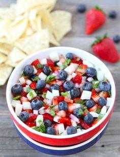 Winning Without Gluten: 4th of July: Blueberry, Strawberry  Jicama Salsa
