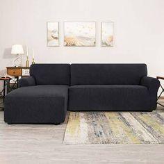 Ebern Designs L-Shaped Right 2 Piece Box Cushion Sofa Slipcover Set & Reviews | Wayfair Furniture Covers, Sofa Covers, Home Furniture, Furniture Makeover, Armchair Slipcover, Cushions On Sofa, Furniture Slipcovers, Sofa Design, Sectional Sofa
