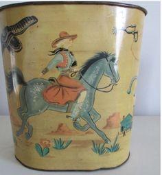 Vintage cowgirl trash can.