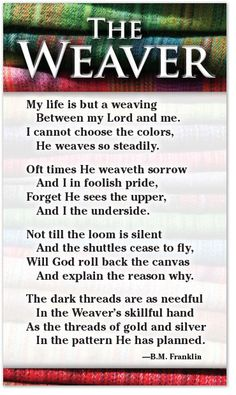 """Poem for those moments we ask """"Why?"""" God has a different perspective. In time all things will be known."""