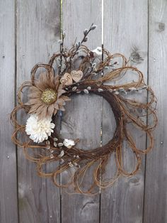 Fall Autumn Grapevine Wreath Personalized Wood by SendInspirations, $36.00