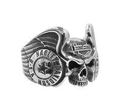 Harley-Davidson Mens Winged Gothic Skull Silver Ring (10) http://bikeraa.com/harley-davidson-mens-winged-gothic-skull-silver-ring-10/ #harleydavidsonclothing