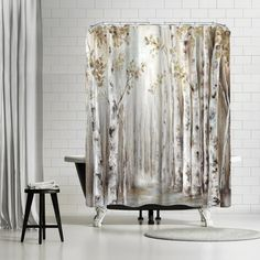 Price Check PI Creative Art Sunset Birch Forest Iii Shower Curtain By East Urban Home Shower Curtain Hooks, Bathroom Shower Curtains, Bedroom Decor, Wall Decor, Bedroom Girls, Gray Bedroom, Shower Sizes, Birch Forest, Rustic Curtains