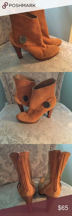 "BCBG camel suede boots w/ button. Beautiful camel colored boots with metal button on side. Back zip. 4 1/2"" heels. Hardly worn. BCBG Shoes Heeled Boots"