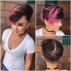 Tutorial to get Women's Brunette Combover Pixie with Bright Pink Highlights and Tousled Top Lengths Hairstyle Bright Hair Colors, Hair Color Pink, Cool Hair Color, Pink Hair, Bright Pink, Elumen Hair Color, Neon Hair, Colourful Hair, Gray Hair