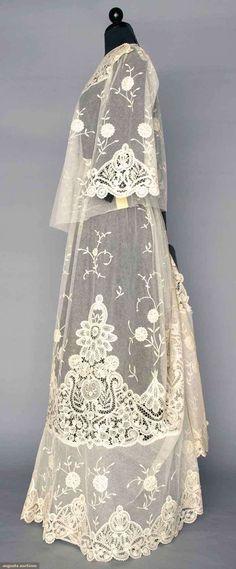 Tea Gown (image 2) | 1905 | Battenburg tape lace, applique princess lace | Augusta Auctions | April 9, 2014/Lot 174