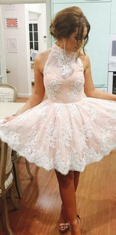A-line Homecoming Dresses, Pink Homecoming Dresses, Short Homecoming Dresses With Lace Sleeveless Mini, Short Homecoming Dresses, Pink Lace dresses, High Neck dresses, Short Lace dresses, Lace Homecoming Dresses, Homecoming Dresses Short, Lace Short dresses, Lace Mini dresses, High Neck Homecoming Dresses, High Neck Lace dresses, Short Pink dresses, Pink Short dresses, Pink Mini dresses
