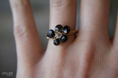 Delicate Black Tourmaline Flower Goldfilled by ATELIERGabyMarcos, $65.00