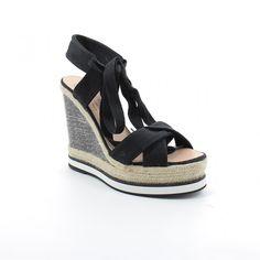 GAIMO Bull Black Wedge Espadrille Sandals | SPANISH SHOP ONLINE