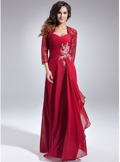 A-Line/Princess Sweetheart Floor-Length Chiffon Mother of the Bride Dress With Beading Sequins Cascading Ruffles (008006157) - Mother of the Bride Dresses - JJsHouse