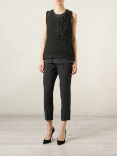 Brunello Cucinelli Open Knit Fringed Layered Top - Nugnes 1920 - Farfetch.com