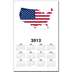 Flag Map of the USA Calendar Print